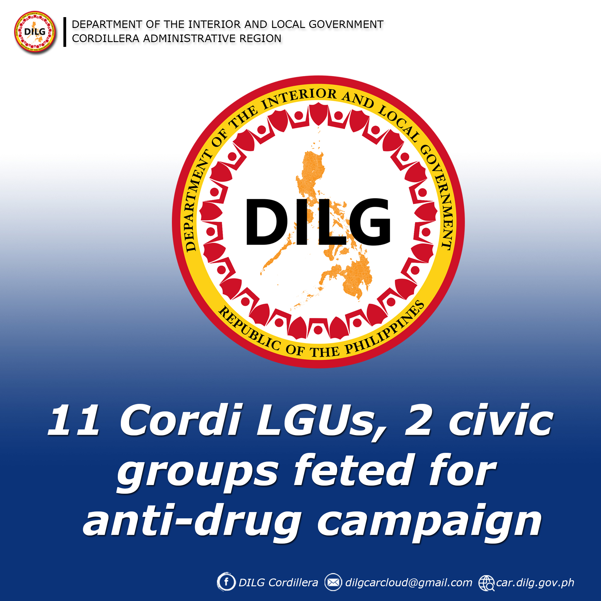 11 Cordi LGUs, 2 civic groups feted for anti-drug campaign