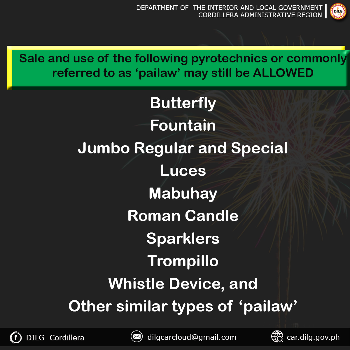 DILG, PROCor enforces regulations in the use of firecrackers, pyrotechnic devices